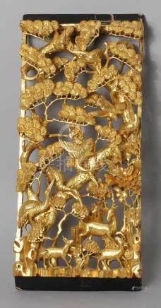 Holz-Wandrelief, China, um 1900, hochrechteckige Form, durchbrochen gearbeitete, schöne, feine