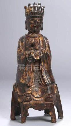 Bronze-Plastik, \Buddha\, China, 19./20. Jh., auf sechsfüßigem Sockel vollplastische, sitzende