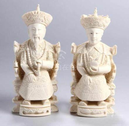 Ein Paar Elfenbein-Figuren, \Kaiserpaar\, China, um 1920, vollplastische, massive, fein