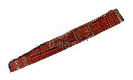 Besticktes Futteral, evtl. Gewehrtasche, Afghanistan 1. H. 20. Jh., mit Brokat, kleinen Spiegeln und
