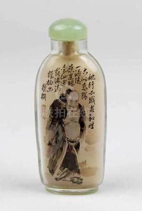 Snufbottle, China, 1.H. bis Mitte 20.Jh., Glas mit Innenbemalung, eine Seite Weiser im Winter, die