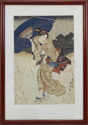 Japanischer Farbholzschnitt, Anfang 19. Jh. gebeugte Geisha mit Schirm bei aufkommendem Regen,