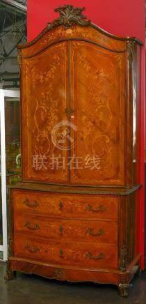 Double corps de style Louis XV en bois de placage et marqueterie florale de bois de rose ouv