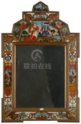 """Miroir à parcloses en bois et églomisés représentant """"Des personnages de cour"""" des """"Scènes c"""