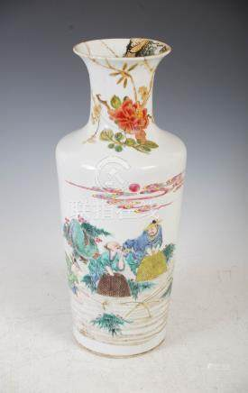 A Chinese porcelain famille rose vase, Qing Dynasty, decorated with five fisherman and pine tree,