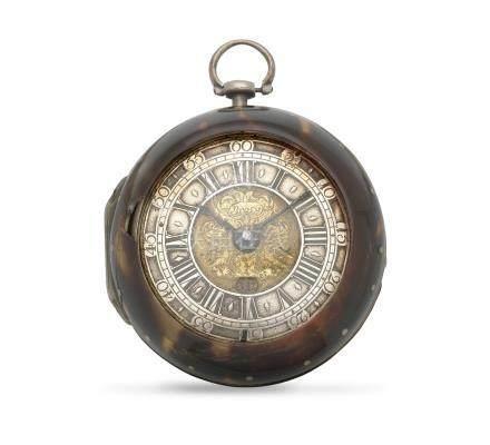 Michael Brosy, Friedberg. A silver and tortoiseshell key wind pair case pocket watch Circa 1690