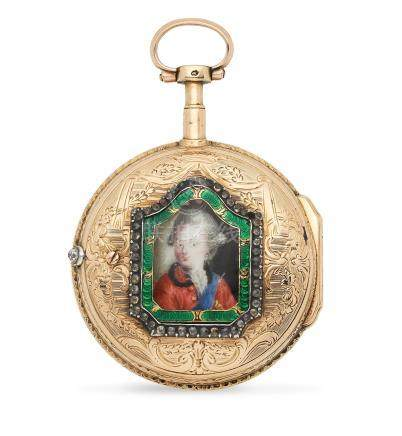 Lepine. A continental gold key wind open face pocket watch with portrait miniature to reverse Circa 1790