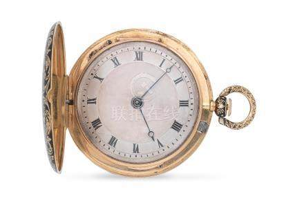 Bautte & Moynier, A Geneve. A gold key wind full hunter quarter repeating pocket watch with enamel decoration Circa 1830