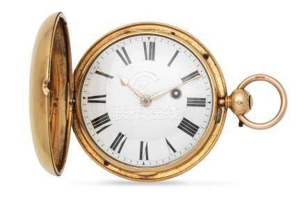 John Morgan, Aberystwyth. An 18K gold key wind open face pocket watch London Hallmark for 1820