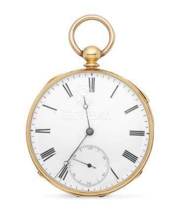 Joseph Fairer, London. An 18K gold key wind open face quarter repeating pocket watch Circa 1860