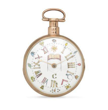 Septimus Miles, Ludgate Street, London. An 18K gold key wind open face pocket watch with Masonic dial Circa 1810