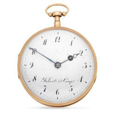 Robert & Comp. An 18K gold key wind open face repeating pocket watch Circa 1820