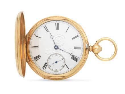An 18K gold key wind full hunter pocket watch Chester Hallmark for 1877
