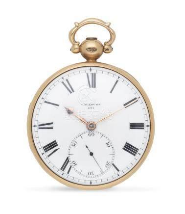 Cockburn, Richmond. An 18K gold key wind open face pocket watch with duplex escapement London Hallmark for 1828