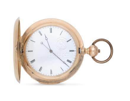 A 14K gold key wind quarter repeating full hunter pocket watch retailed by Joseph Marchak, Paris Circa 1900
