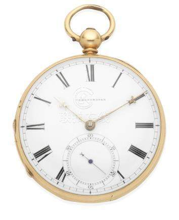 E & E. Emanuel, 1 Burlington Gardens, London & Portsea. An 18K gold keyless wind open face chronometer pocket watch London Hallmark for 1855
