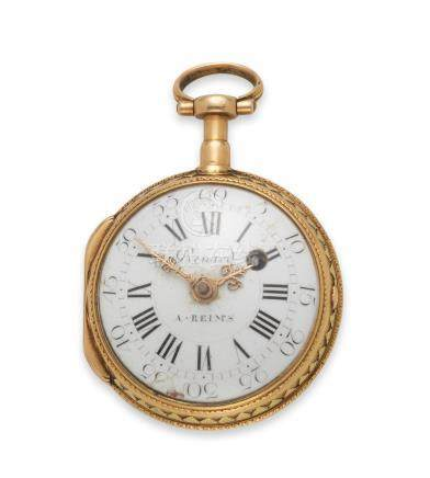 Renard, Reims. A two colour gold key wind open face consular cased pocket watch Circa 1770