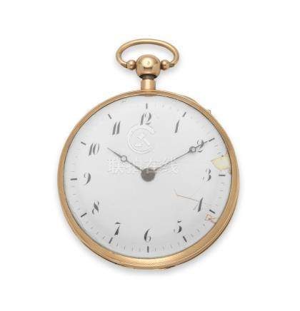 A continental gold open face quarter repeating pocket watch Circa 1820