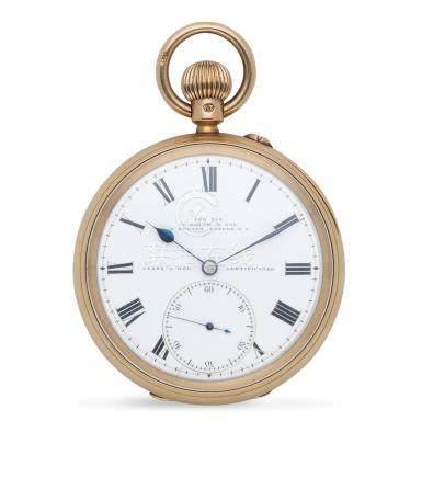 S. Smith & Sons, 9 Strand, London. An 18K gold keyless wind open face Class A Kew Observatory quality pocket watch London Hallmark for 1896