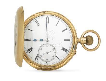 Sir John Bennett Limited, 65 Cheapside, London. An 18K gold keyless wind half hunter pocket watch London Hallmark for 1890
