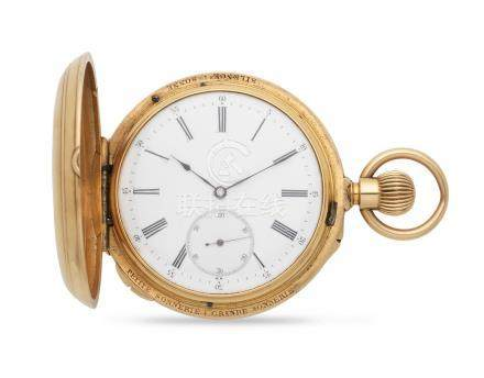 Audemars Brassus for H Kreitz. An 18K gold keyless wind quarter repeating full hunter pocket watch with grande and petite sonnerie Circa 1900