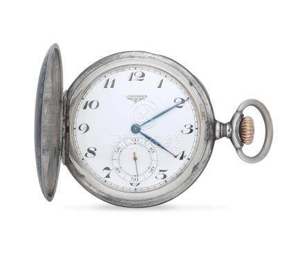 Longines. A niello silver keyless wind full hunter pocket watch with matching chatelaine Circa 1900
