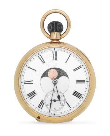 An 18K gold keyless wind dual dialled open face pocket watch with moon phase and triple calendar London Import mark for 1907