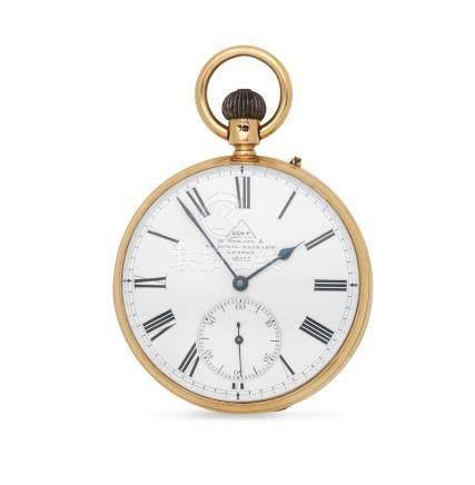 Dent, 61 Strand & 34 Royal Exchange, London. An 18K gold keyless wind open face pocket watch London Hallmark for 1879