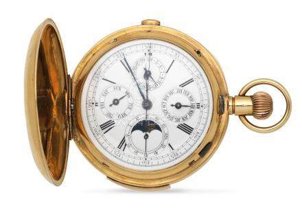 An 18K gold keyless wind minute repeating triple calendar full hunter pocket watch with moon phase London Hallmark for 1868