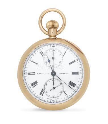 Russells Ltd, Liverpool. An 18K gold keyless wind open face chronograph pocket watch London Import mark for 1907