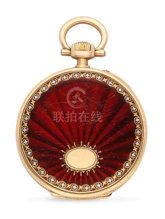 Patek Philippe. An 18K gold keyless wind open face pocket watch with enamel decoration Circa 1900
