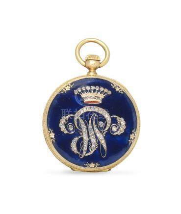 Patek Philippe. An 18K gold keyless wind open face pocket fob watch with enamel and stone set decoration Circa 1880