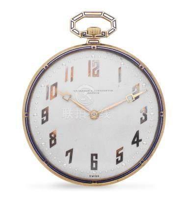 Vacheron & Constantin. An 18K gold keyless wind open face pocket watch with enamel decoration Circa 1910
