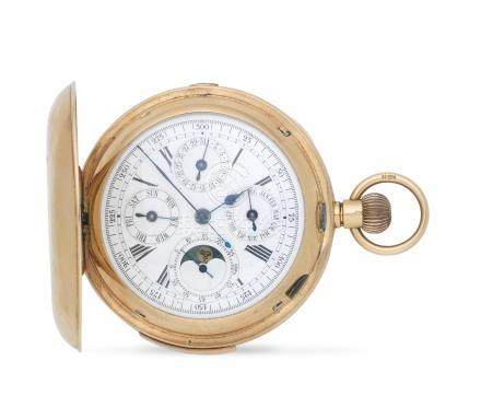 An 18K gold keyless wind triple calendar minute repeating chronograph full hunter pocket watch with moon phase London Import mark for 1907