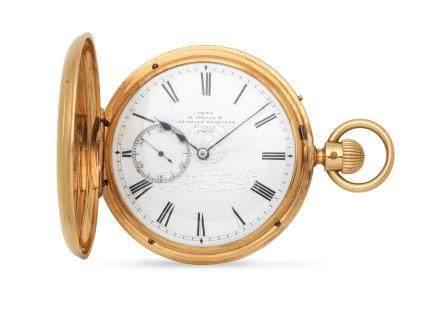 Dent, 61 Strand & 34 Royal Exchange, London. An 18K gold keyless wind half hunter pocket watch London Hallmark for 1930