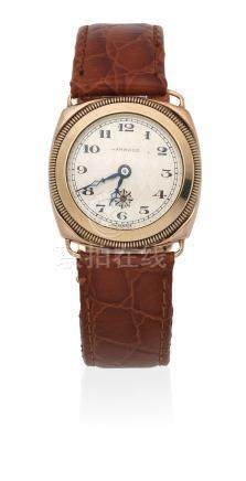 Harwood. A 9K gold automatic cushion form wristwatch London Import mark for 1929