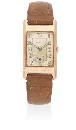 Rolex. A 9K rose gold manual wind rectangular wristwatch Circa 1938