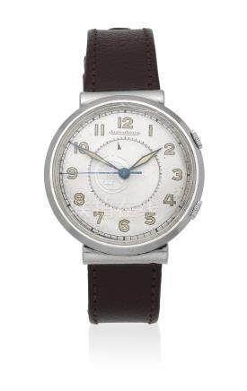 Jaeger-LeCoultre. A stainless steel manual wind alarm wristwatch Circa 1949