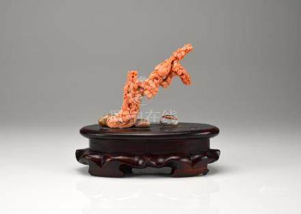CHINESE ANGEL SKIN CORAL CARVED FIGURE