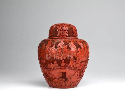 CHINESE CINNABAR LACQUER CARVED COVERED JAR