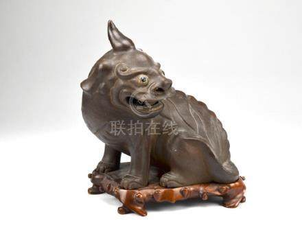YIXING POTTERY LUDUAN MYTHICAL BEAST FIGURE