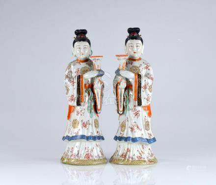PAIR OF FAMILLE ROSE PORCELAIN CANDLE HOLDERS