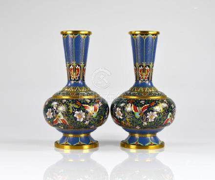 PAIR OF CHINESE CLOISONNE ENAMELLED BOTTLE VASES