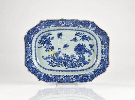 CHINESE EXPORT BLUE & WHITE PORCELAIN PLATTER