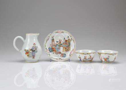 FOUR CHINESE EXPORT FAMILLE ROSE PORCELAIN ITEMS