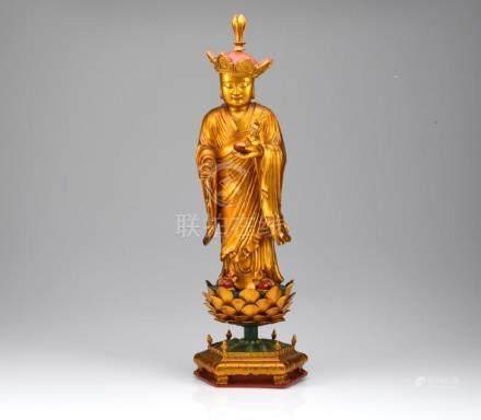 CHINESE CARVED WOOD DIZANG BODHISATTVA FIGURE
