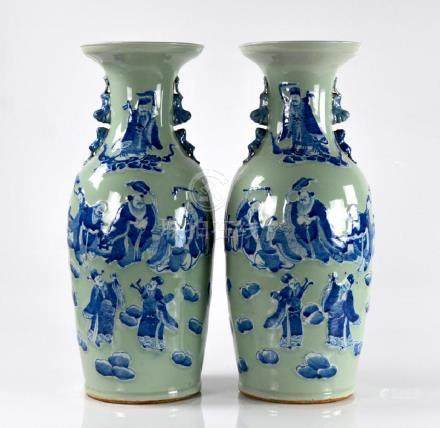 PAIR OF CELADON GROUND BLUE & WHITE PORCELAIN VASE