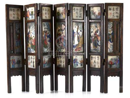 SEVEN PANEL CHINESE WOOD FRAME TABLE SCREEN