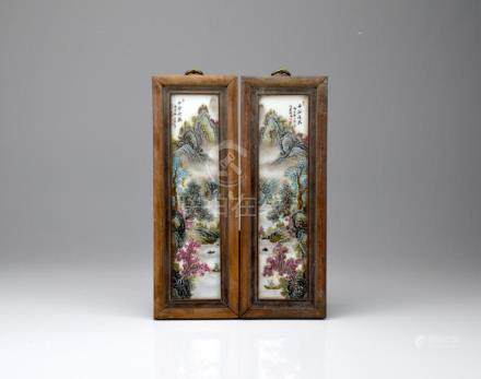 PAIR OF WOOD FRAMED FAMILLE ROSE PORCELAIN PLAQUE