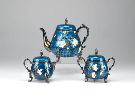 THREE PIECE KOREAN SILVER AND ENAMEL TEA SET
